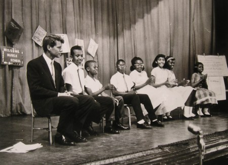 Attorney-General Robert Kennedy at an assembly, Park View Elementary School
