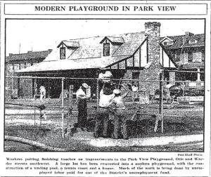 The field house at the Park View playground as it neared completion on September 8, 1932