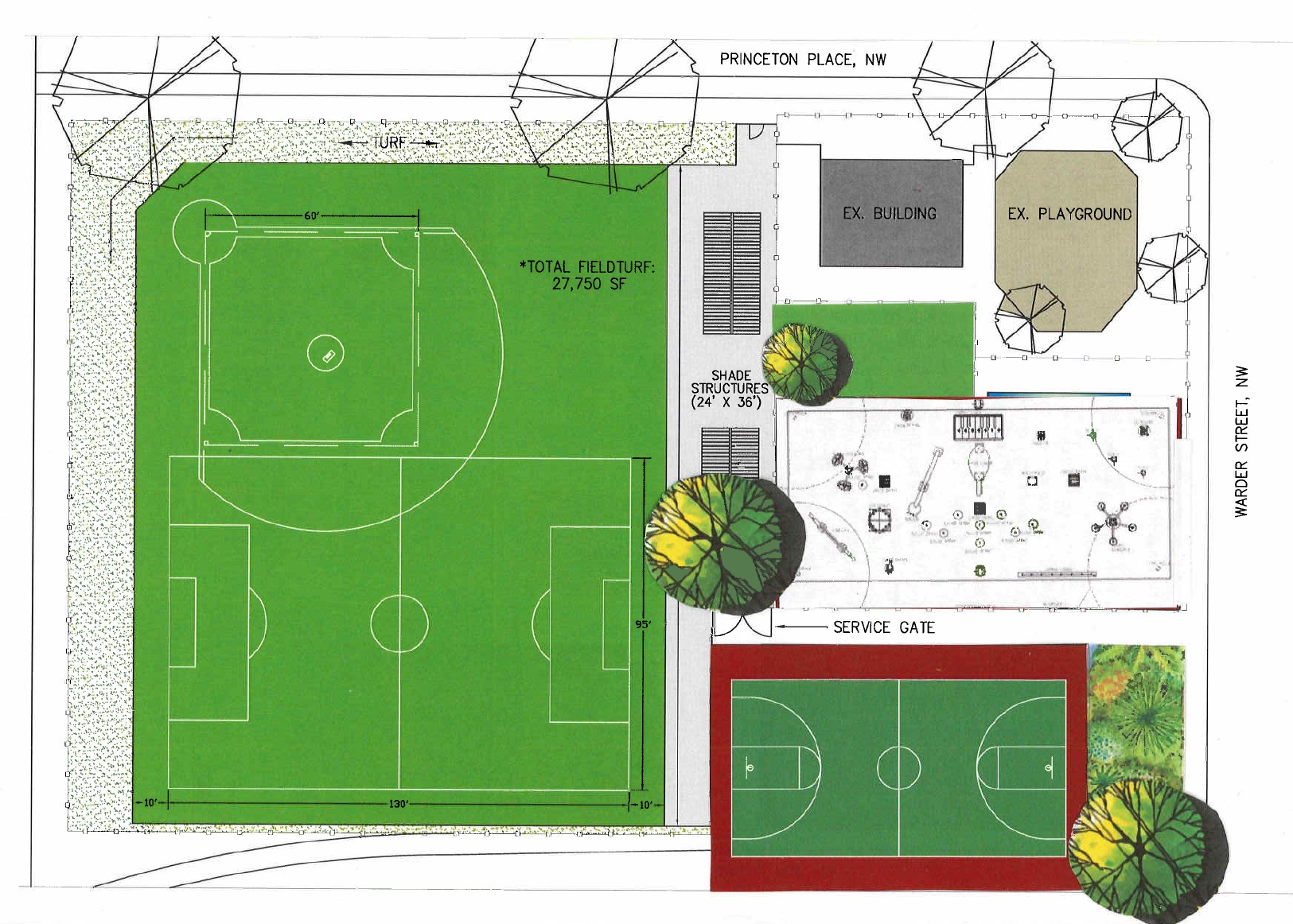 The gallery for outdoor basketball court plan for Basketball court plan