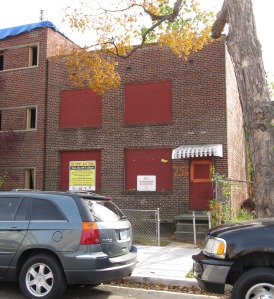 The blighted building at 756 Park Road, NW, that was recently razed.