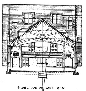 East elevation of the Park View School auditorium, detail from 1915 plan.