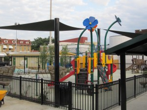 View of the new playground from the northwest