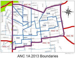 Map of ANC 1A showing borders and locations of Single Member Districts (SMDs).