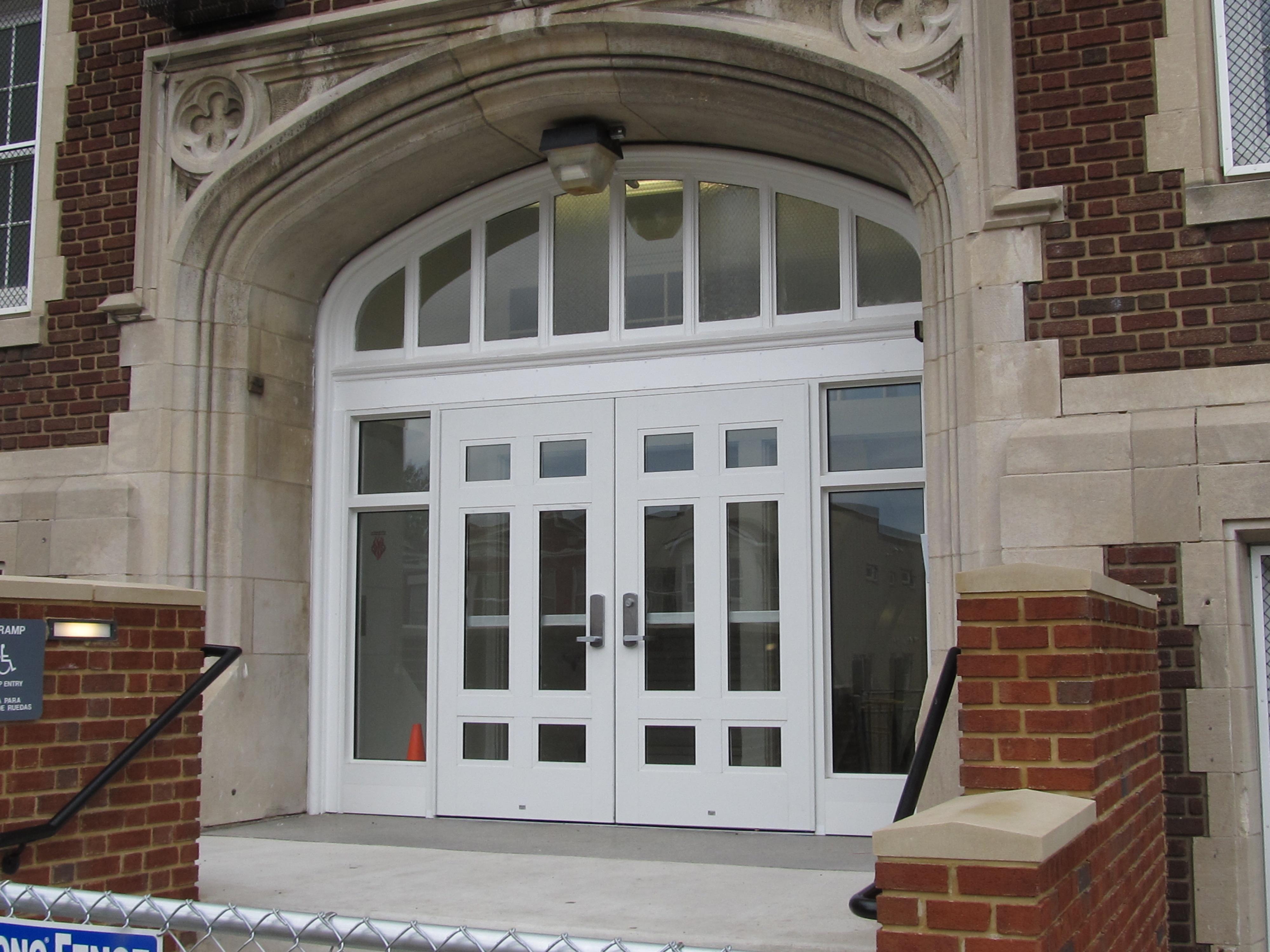 School Entrance Doors : Park view school gets new entry doors d c