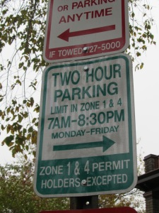 Typical residential parking sign with regular hours of 7 am to 8:30 pm