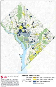Planning's draft transit zone map showing walkability to modes of transit.