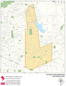 Map showing zone where businesses are eligible for grants