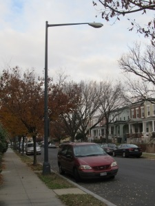 Streetlights, such as this cobra hood on Rock Creek Church Rd., are replaced with far more attractive alternatives on major great streets corridors.