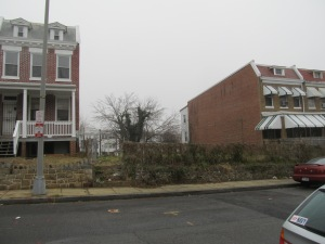 The empty lot at 429 Newton Place as it appears today.