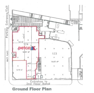 According to presentation materials, petco is planning to occupy a space near the intersection of Irving Street and Hiatt Place, NW