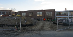 The recreation center addition to the Raymond School as seen from the west (10th Street)