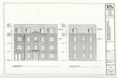 Facade elevation showing addition of third floor.