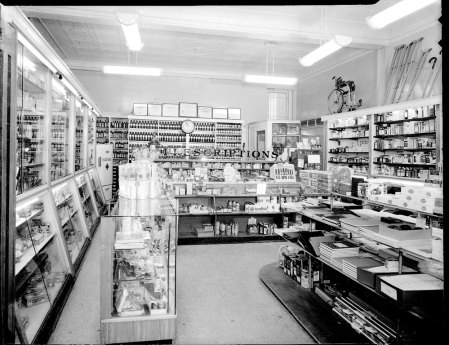 Interior of Professional Pharmacy, January 1955. Scurlock Studio Records, ca. 1905-1994, Archives Center, National Museum of American History.