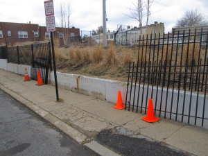 The rec center's fence along Otis Place as it was on February 15th.