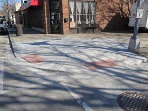 New crosswalks and surrounding sidewalks outside of Mothership, Georgia & Lamont.