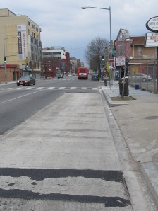 New bus stop pad located on north bound Georgia just south of Park Road.