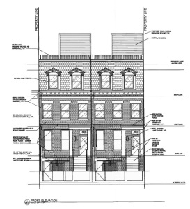Elevation drawing of 3612-3614 Park Place, NW.
