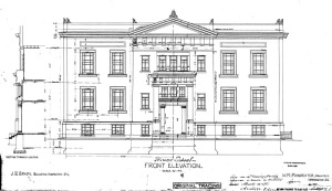 Kenyon Street Elevation from original drawings by architect William M. Poindexter, dated  March 14, 1898.