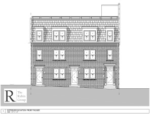 Newton Street elevation showing addition of third level.