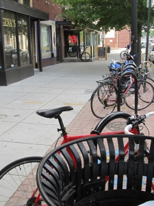 Bike racks near DC Reynolds and Looking Glass Lounge continue to be in high demand.