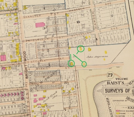This detail from the 1903 Baist Atlas shows what appear to be the original locations of the houses now on Columbia Road.