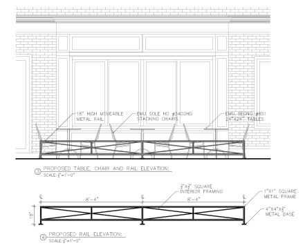 Elevation illustrating style of fencing and associated height.