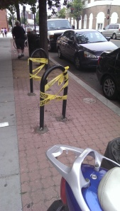 Newly installed bike racks on the 3600 block of Georgia Avenue.