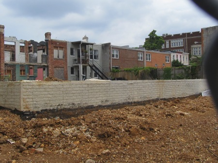Foundation work at the rear of 610 Park Road. Everything appears to be in place for the structure to rise.