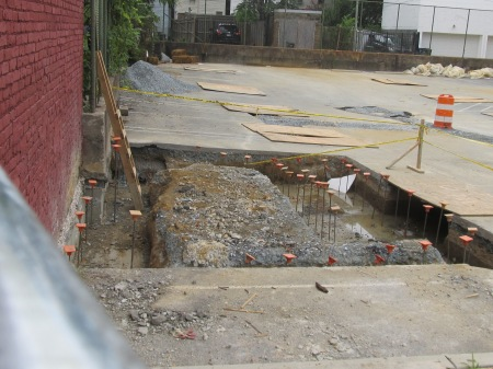 Parking lot excavation in preparation of construction.