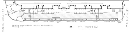 Sidewalk plan showing proposed locations of tables and chairs.