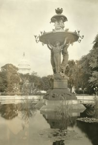 The Commission of Fine Arts favored relocating the Bartholdi Fountain to Grant Circle in 1925 and 1926 when Congress was looking to relocate the fountain. The photograph above shows it in its original position on the Mall on January 1, 1924. (Photo from author's collection).