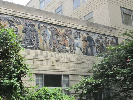 The right section of the mural containing the controversial panel.