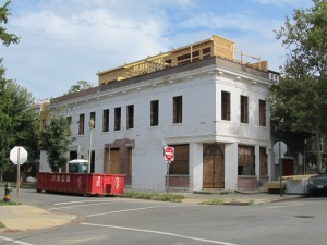 Originally built as a corner market, 3499 Holmead Place is undergoing renovations to become two living units.