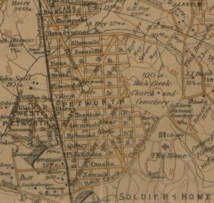 Detail of Hopkin's 1894 map: The vicinity of Washington, D.C. showing location of Grant Circle as platted. (From the collection of the Library of Congress)