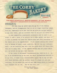 Letter from Corby Bakery to a customer ca. 1903.
