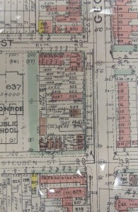 This detail from the 1968 Baist's Real Estate Atlas shows that the Georgia Avenue frontage of the Bruce Monroe site was originally private property with commercial buildings.
