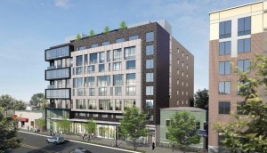 A rendering of ZP Georgia's proposed multi-family development at 3212 Georgia Ave. NW, which will replace Petworth Liquor ... from Washington Business Journal.
