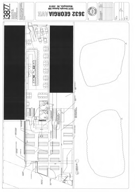 Plan drawing showing the enlarged patio area behind both 3632 and 3630 Georgia Avenue (patio at bottom of drawing).