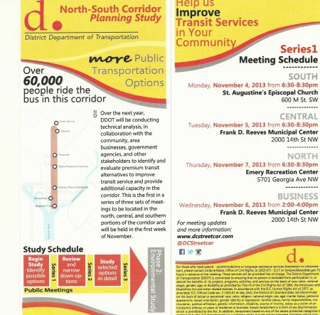 Front and Back of the flyer announcing meeting dates and locations for the North South Corridor Study,