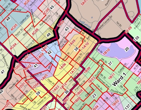 Existing voting precincts in ANC 1A