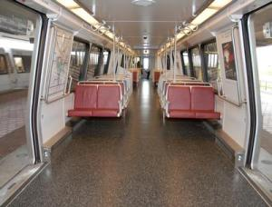 A 6000-series Metrorail car with resilient flooring