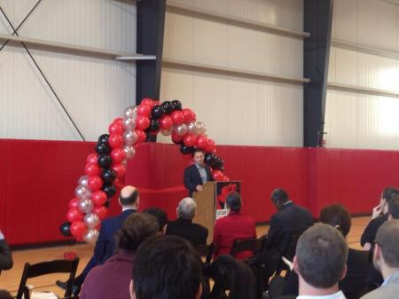 Principal speaking at Chavez Prep ribbon cutting (from Twitter user @Fight4Children).