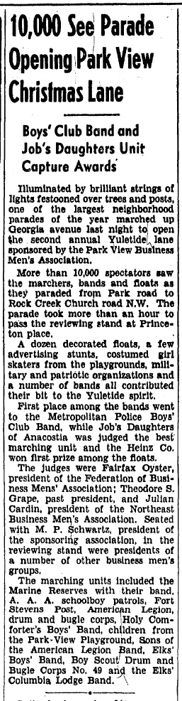 Park View Yuletide Parade 1938