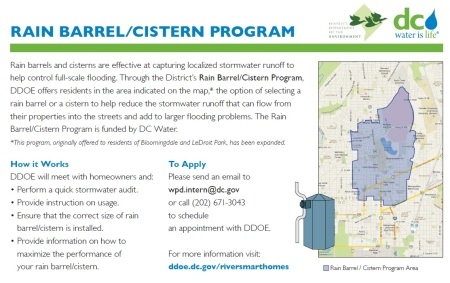 rain barrel cistern program flyer
