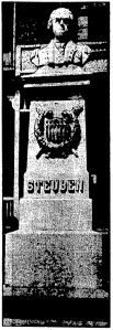Steuben monument on the grounds of the German Orphan Asylum, ca. 1930.