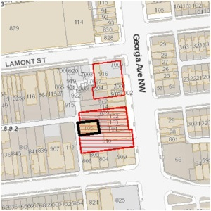 Map showing location of Square 2892, Lot 0105. The hatched area shows planned project replacing Petworth Liquor.