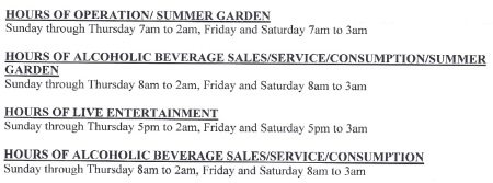 Colony Club Proposed Hours