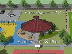 Detail from general concept drawing showing approximate design for shade structure.
