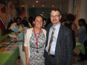 Commissioner Boese with dual language teacher Jackie Jaffe at the Bruce-Monroe @ Park View Elementary School Family Night.