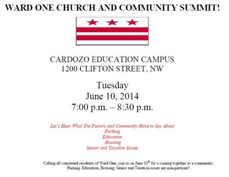 Ward 1 Church and Community Summit Flyer